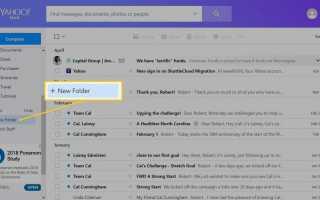 Как сделать почтовые папки Yahoo