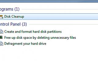 Свободное место на жестком диске с очисткой диска