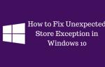 Неожиданное исключение магазина в Windows 10 Ошибка