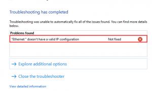 Ethernet не имеет действительной конфигурации IP