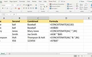 Как использовать функцию Excel CONCATENATE для объединения ячеек