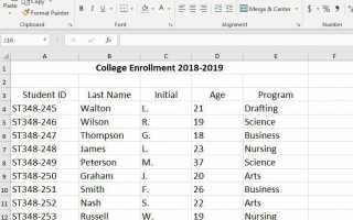 Как создать базу данных Excel