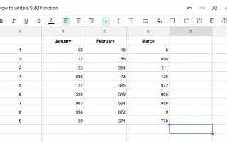 Как суммировать столбцы или строки в Google Sheets