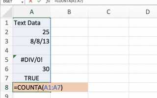 Как считать все типы данных с COUNTA в Excel