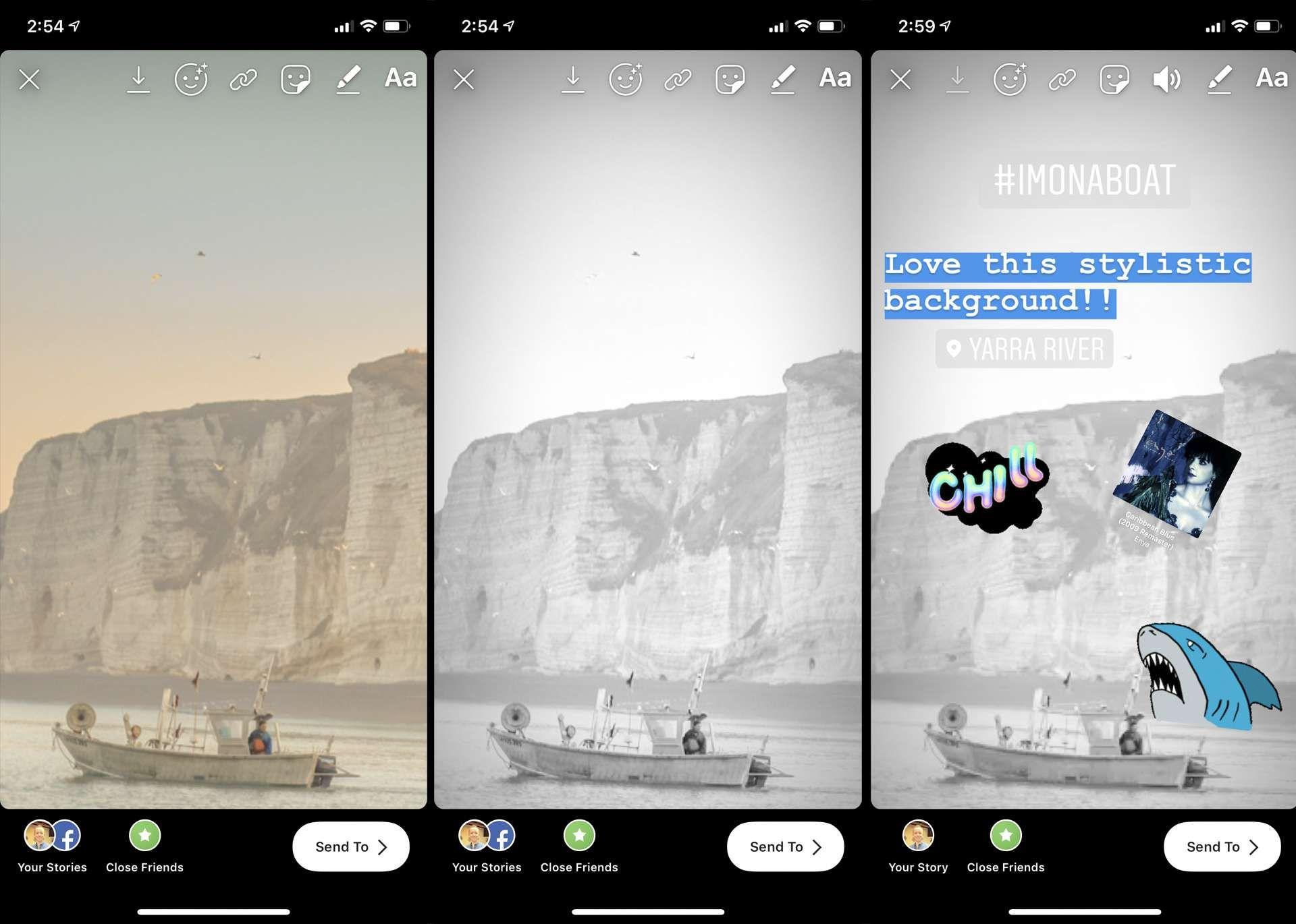 Изменение цвета фона в инстаграм фото