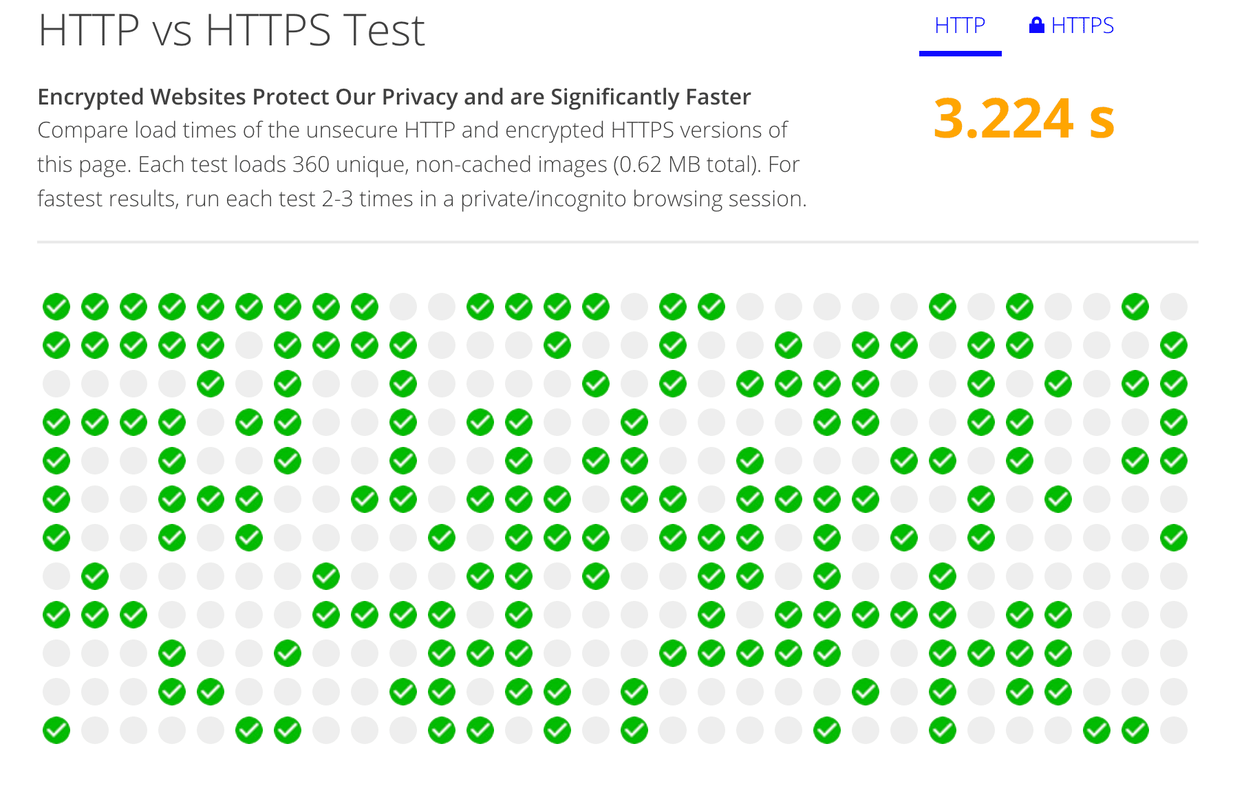скриншот Anthum's HTTPS vs HTTPS speed test in action