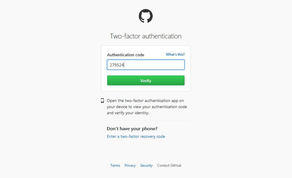 Скриншот GitHub's two-factor authentication page.