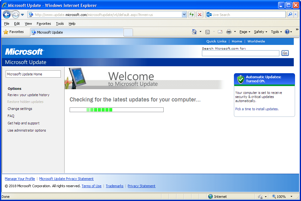 Windows XP Утилита Windows Update