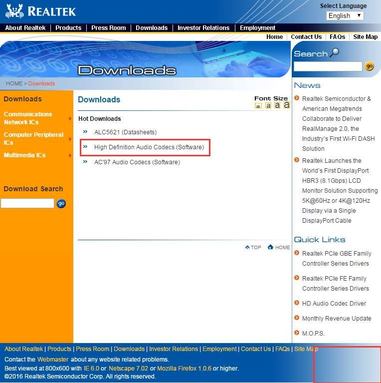Realtek High Definition Audio Drivers for Windows 7