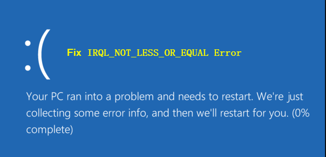 IRQL NOT LESS OR EQUAL on Windows 10