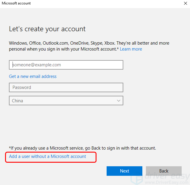 We can't sign into your account in Windows 10