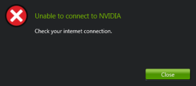 Unable to Connect to NVIDIA Error