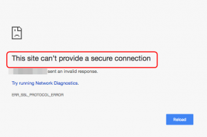 This site can't provide a secure connection in Chrome