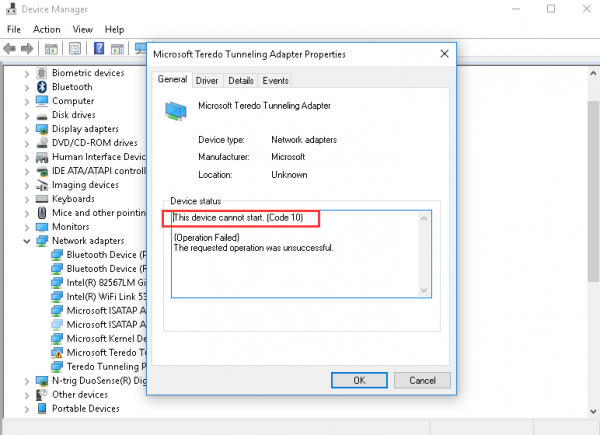 Microsoft Teredo Tunneling Adapter driver problem