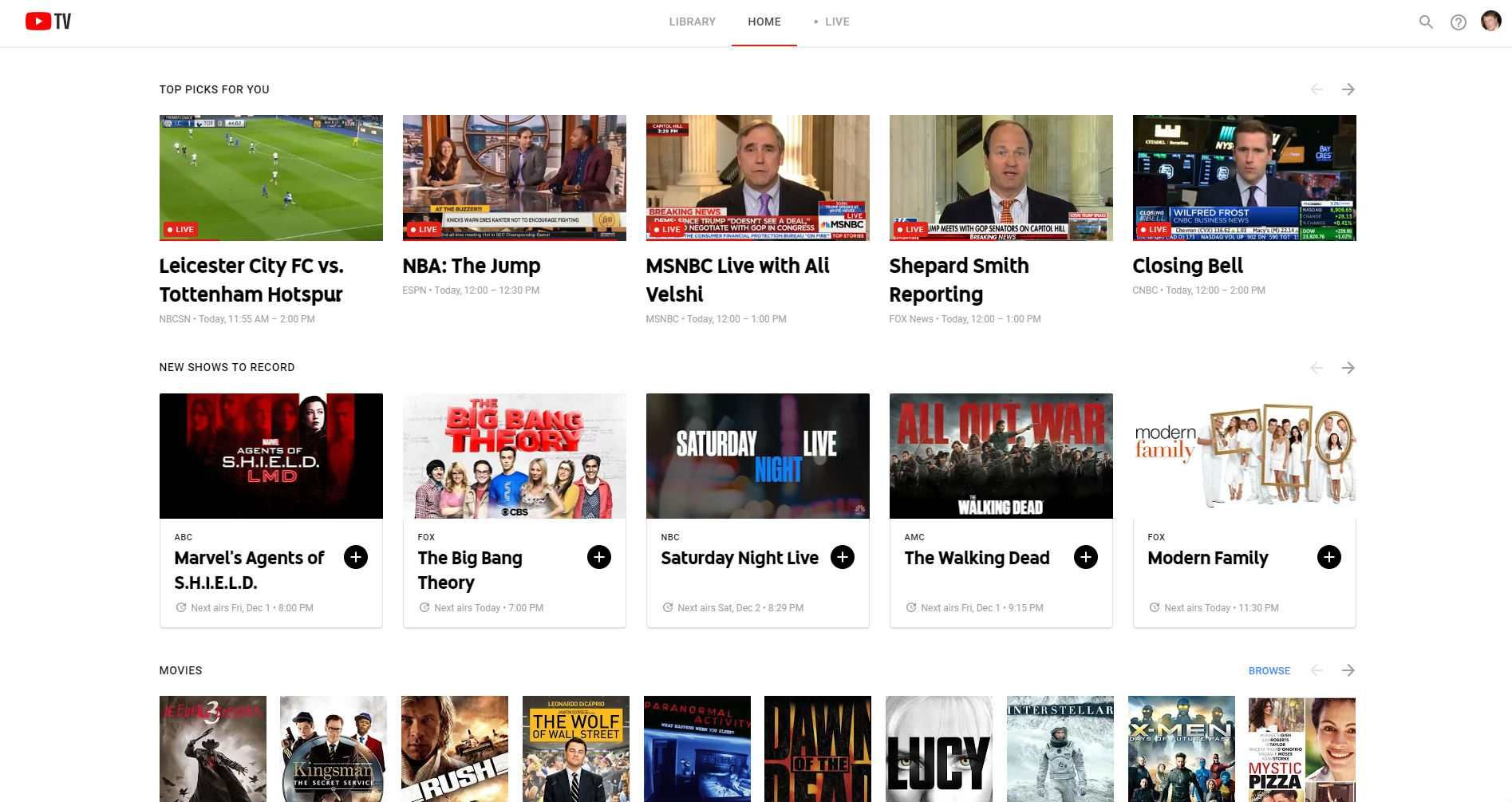 Скриншот YouTube TV.