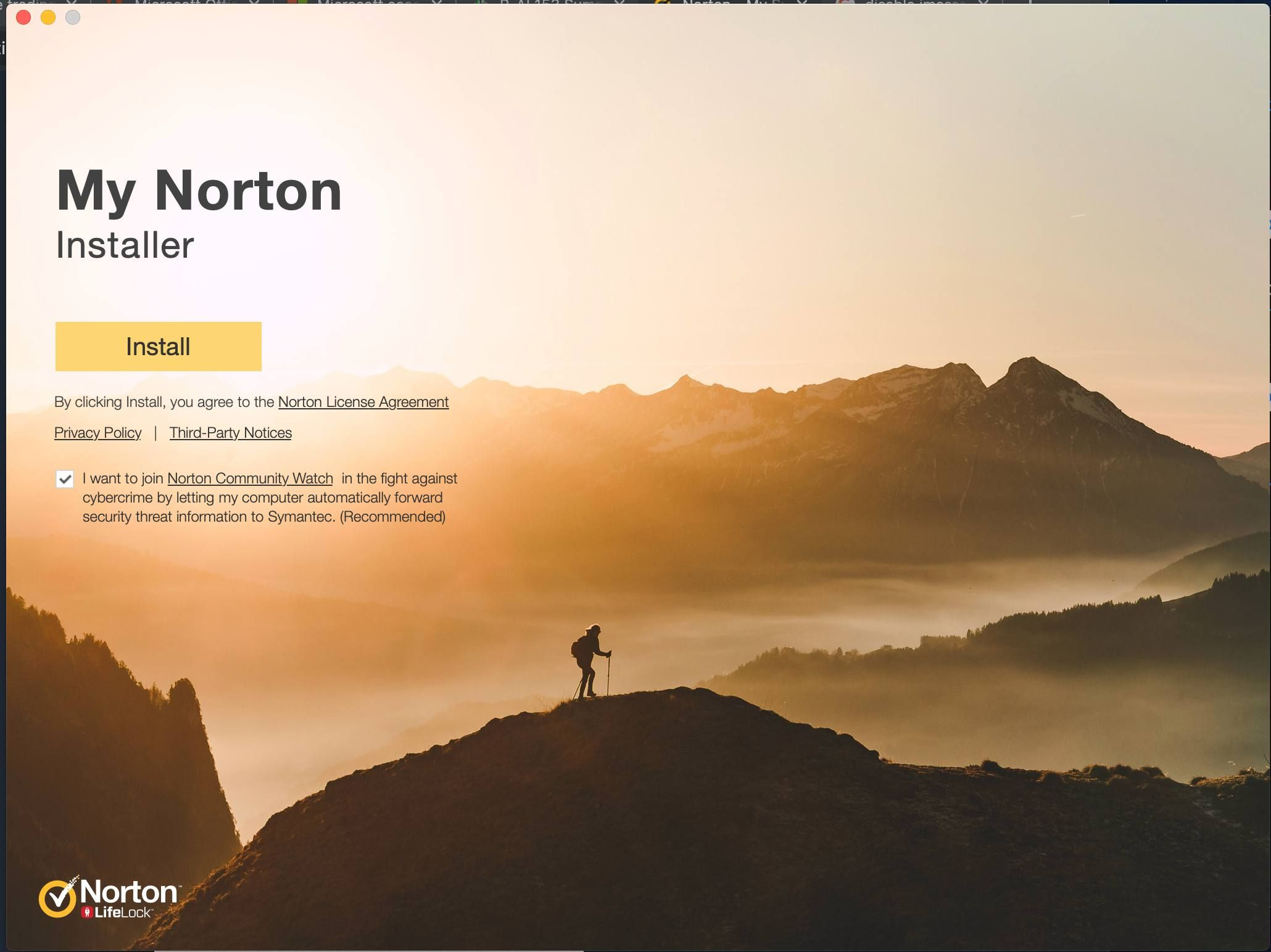 Интерфейс My Norton Installer в macOS